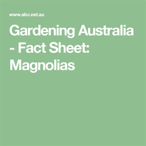 Gardening Australia Fact Sheets Plants and Flowers