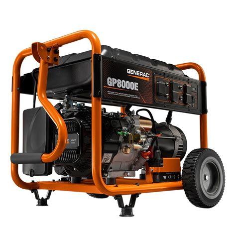 generac 2 images generac gp series portable generator generac 8000 watt electric start portable generator