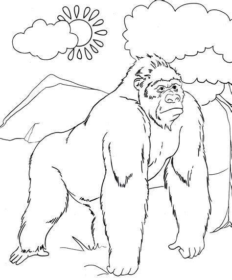 Gorilla coloring page Animals Town animals color sheet