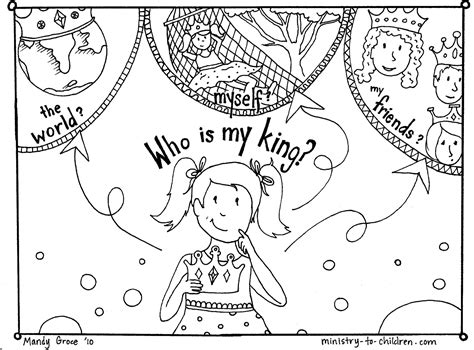 Gospel Coloring Pages Who is my King MINISTRY TO CHILDREN