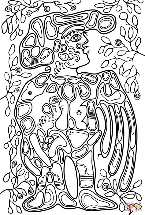 Grandfather with Child by Norval Morrisseau coloring page