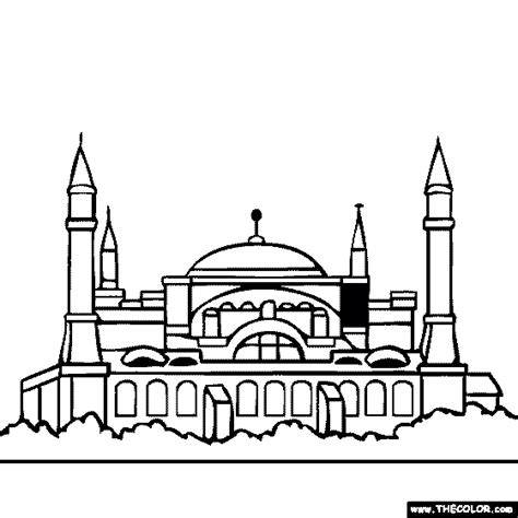 Hagia Sophia Istanbul Turkey coloring page TheColor