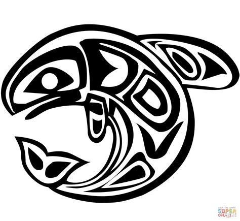 Haida Art Whale coloring page Free Printable Coloring