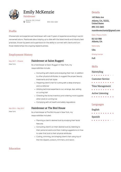 hairdresser resume examples hair stylist job seeking tips hair stylist resume sample hairdresser resume example