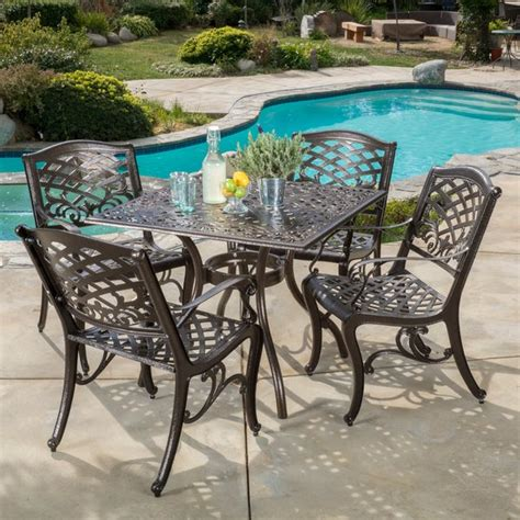 Hallandale Outdoor Cast Aluminum Square Bronze Dining