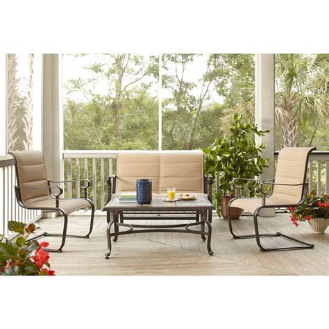 Hampton Bay Belleville Padded Sling 4 Piece Patio Seating