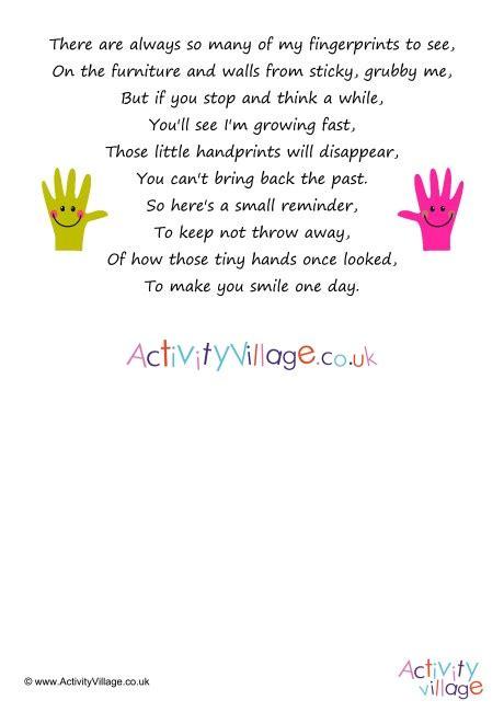 Handprint Poems Activity Village