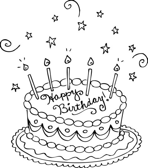 Happy Birthday Cake Online Coloring Page TheColor