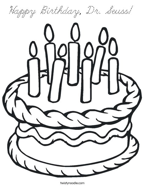 Happy Birthday Dr Seuss Coloring Page Twisty Noodle