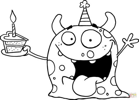 Happy Monster Celebrates Birthday with Cake coloring page