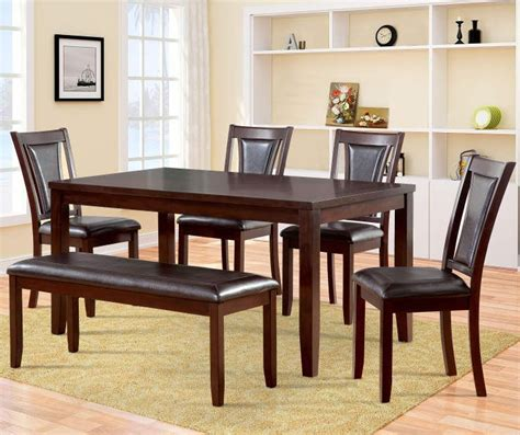 Harlow 6 Piece Padded Dining Set with Bench Big Lots