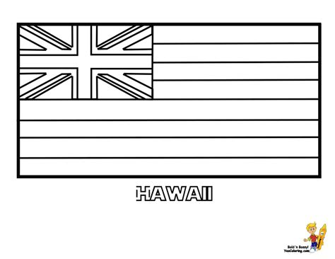 Hawaii State Flag Printable State of Hawaii Flag Color Page