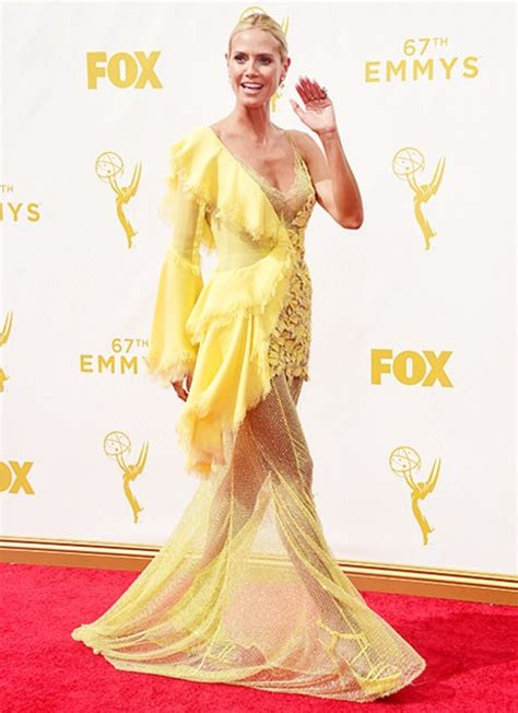 Heidi Klum Stuns in Sheer Yellow Dress on Emmys 2015 Red