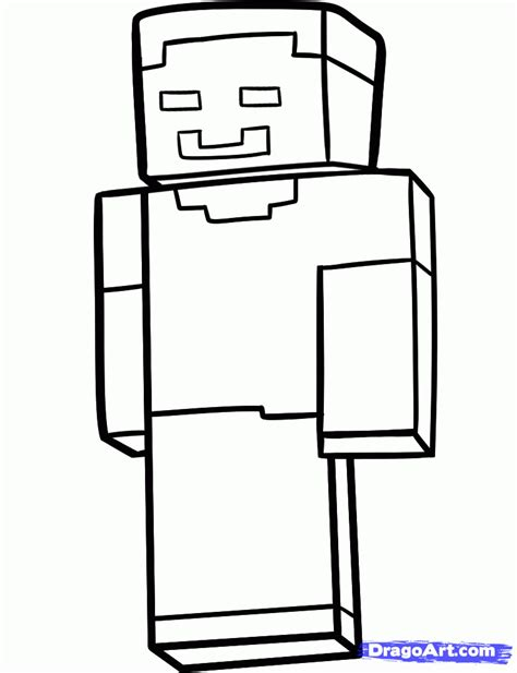 Herobrine character of Minecraft coloring page printable game