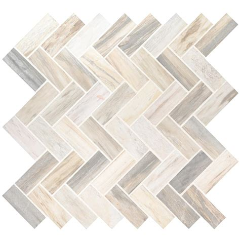 Herringbone Marble Mosaic Tile The Home Depot