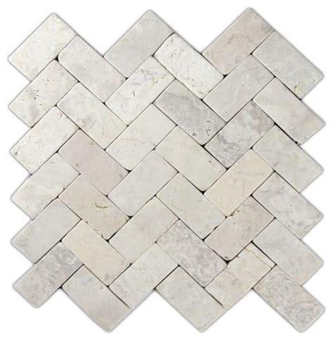 Herringbone Stone Mosaic Tile Cream 11 x12