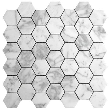 Hexagon Carrara Marble Mosaic Tiles The Builder Depot
