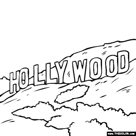 Hollywood Sign Los Angeles CA coloring page