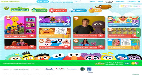 Home Page Sesame Street PBSKids