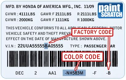 Honda Touch Up Paint Color Code and Directions for