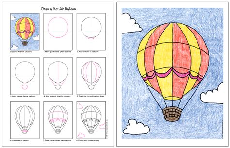 Hot Air Balloon Drawing How to Draw Hot Air Balloons