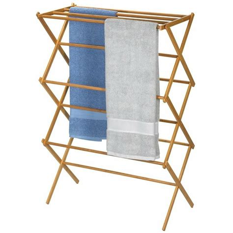 Household Essentials Folding Clothes Drying Rack Bamboo eBay