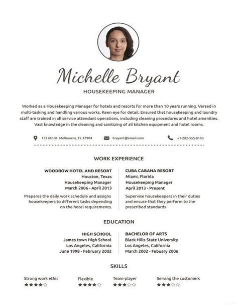 Housekeeper Free Sample Resume Resume Example Free