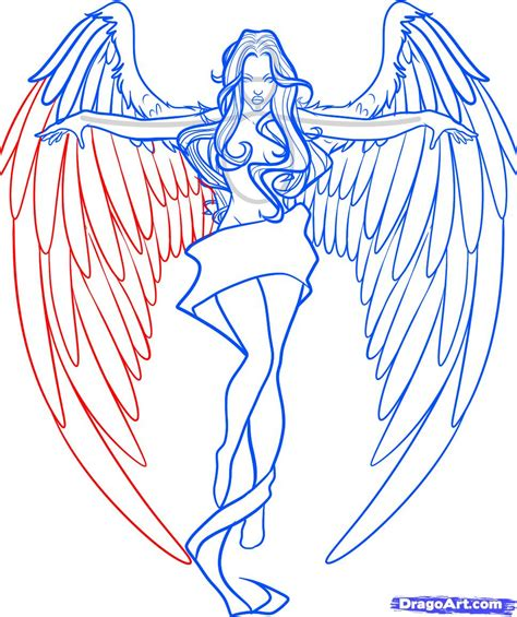 How To Draw Angel Wings Easy Drawings And Sketches