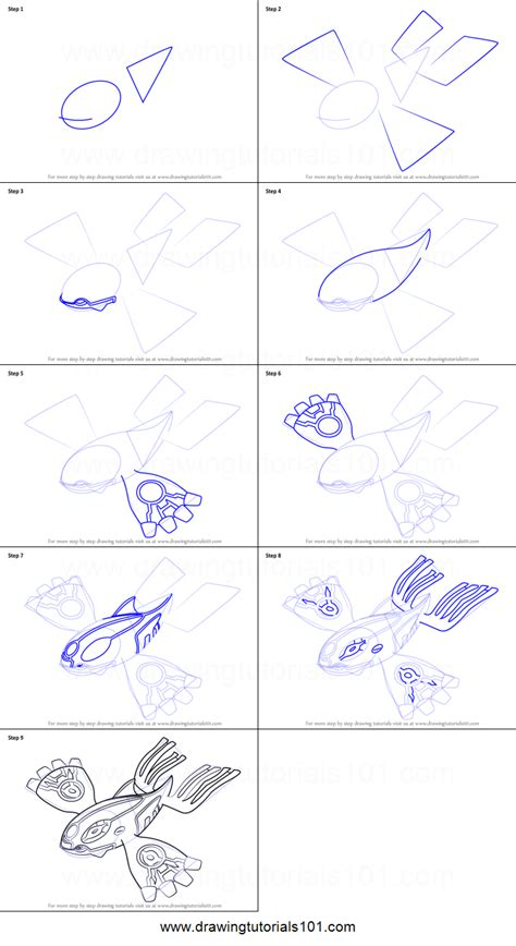 How To Draw Kyogre From Pokemon Step By Step Drawing