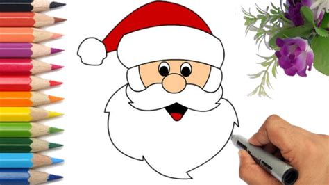 How To Draw Santa Claus Face Step by Step YouTube