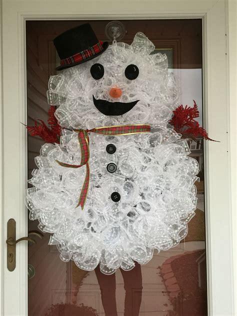 How To Make Deco Mesh Snowman Wreath Hometalk