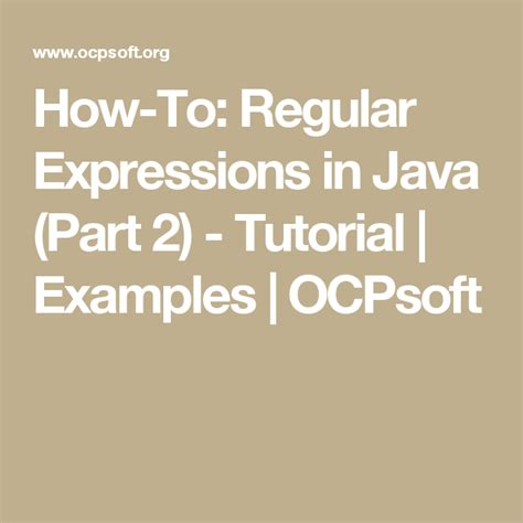How To Regular Expressions in Java Part 1 Tutorial