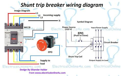 shunt trip device wiring diagram images earth leakage circuit how does a shunt trip work to trip a circuit breaker