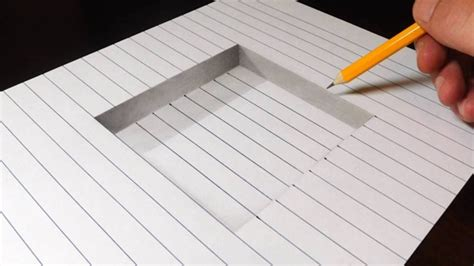 How to Draw 3D Art Easy Line Paper Trick YouTube