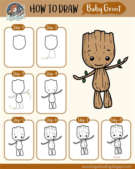 How to Draw Baby Groot Easy Drawing Tutorials