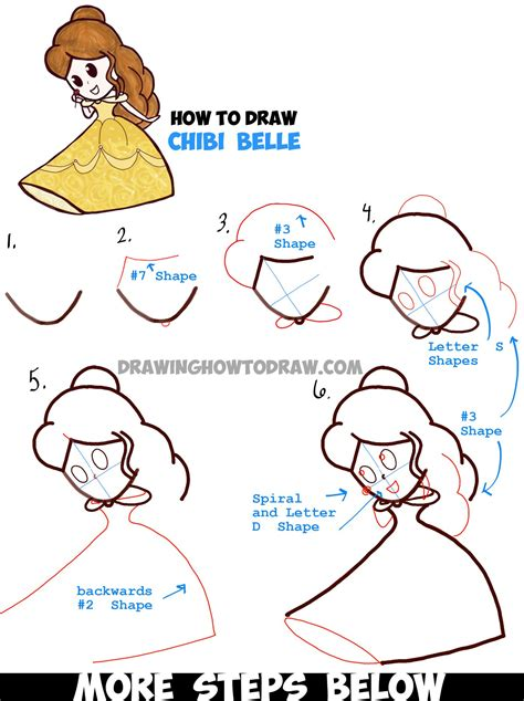 How to Draw Belle Step by Step Disney Princesses