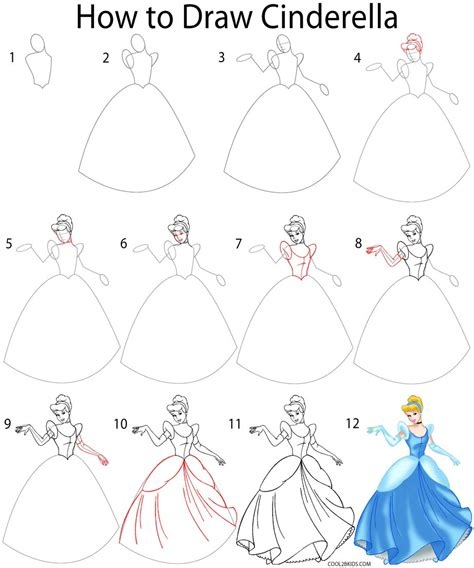 How to Draw Cinderella Easy Step by Step Disney