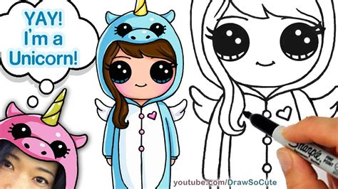 How to Draw Cute Girl in Unicorn Onesie step by step Easy