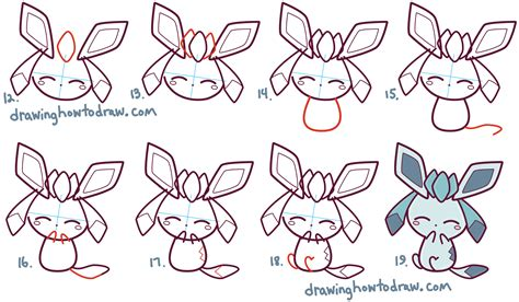 How to Draw Cute Kawaii Chibi Glaceon from Pokemon in Easy