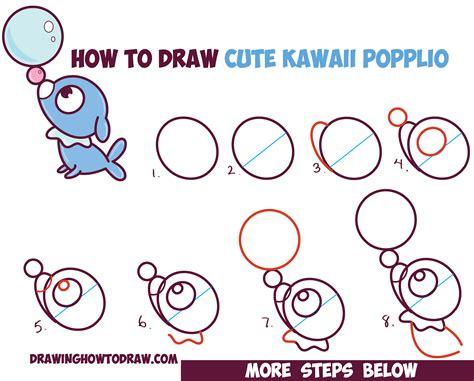 How to Draw Cute Kawaii Chibi Popplio from Pokemon Sun and