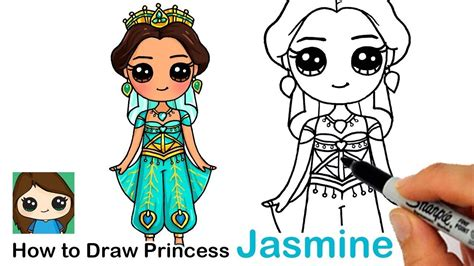 How to Draw Disney Princess Jasmine from Aladdin Cute