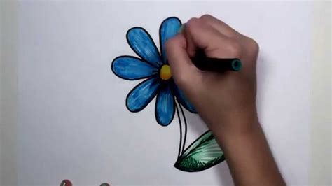 How to Draw Flower Step by Step Blue Daisy Drawing Lesson MLT