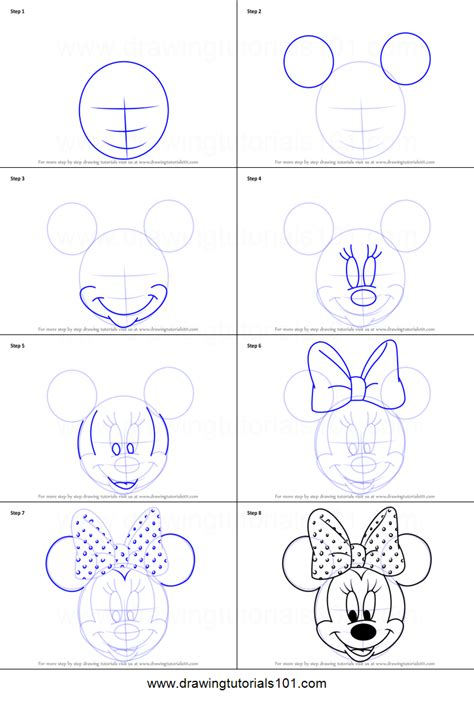 How to Draw Minnie Mouse Step by Step Drawing Manuals