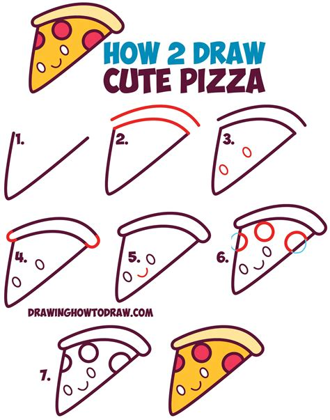 How to Draw Pizza For Kids Step by Step Food Pop