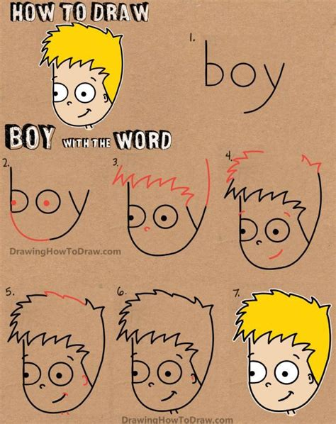 How to Draw a Cartoon Boy with the word Boy Easy Tutorial