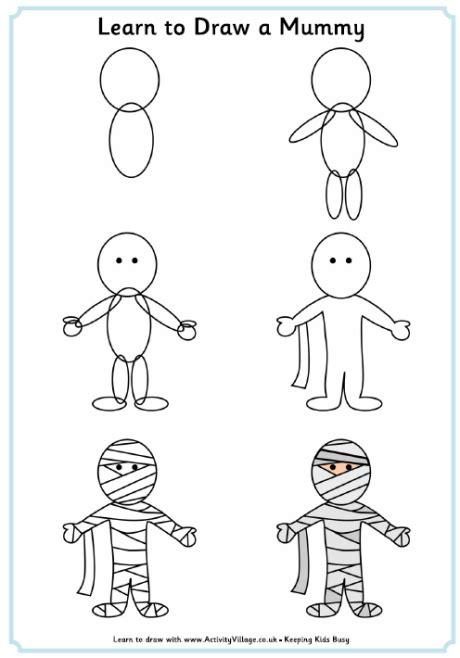 How to Draw a Cartoon Mummy Step by Step Halloween