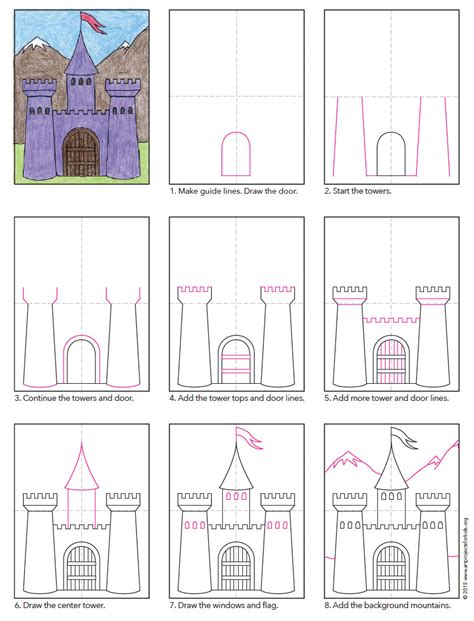 How to Draw a Castle Step by Step Castle Drawing for Kids