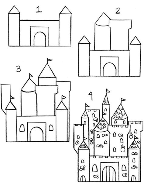 How to Draw a Castle for Kids Step by Step Fantasy For