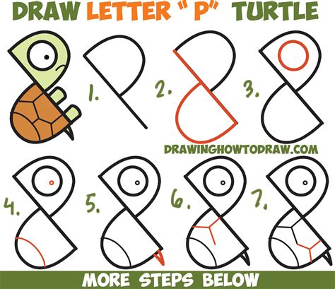 How to Draw a Cute Cartoon Turtle from Letter P Shapes