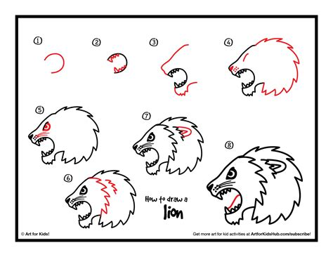 How to Draw a Lion Face Easy way Step by Step drawing for kids and beginners